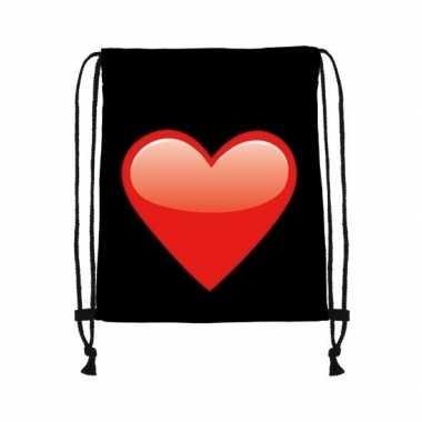 Gymtas zwart met een rood hart