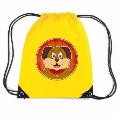 Honden gymtas / gymtas geel voor kinderen