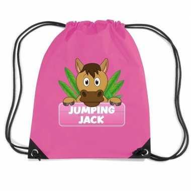 Jumping jack paarden gymtas / gymtas roze voor kinderen