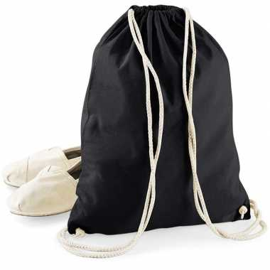 Katoenen gymtas/zwemtasje zwart met rijgkoord