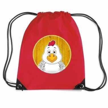 Kippen gymtas / gymtas rood voor kinderen