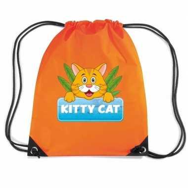 Kitty cat katten gymtas / gymtas oranje voor kinderen