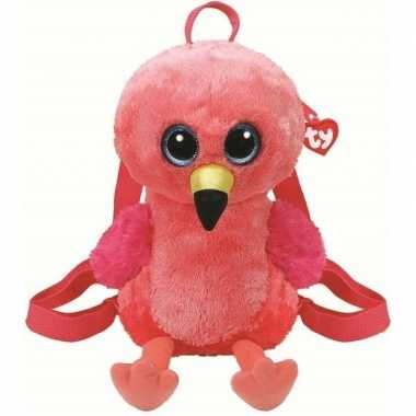 Knuffel kinder rugzakje/gymtas ty beanie flamingo gilda roze 15 x 24 cm voor jongens/meisjes/kinderen