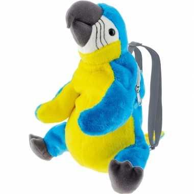Knuffel rugzakje/gymtas ara papegaai vogels 32 cm knuffels kopen
