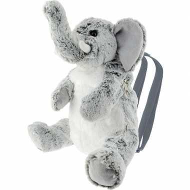 Knuffel rugzakje/gymtas olifant grijs 25 cm knuffels kopen