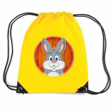 Konijnen gymtas / gymtas geel voor kinderen
