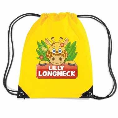 Lilly longneck de giraffe gymtas / gymtas geel voor kinderen