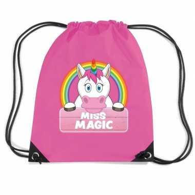 Miss magic eenhoorn gymtas / gymtas roze voor kinderen
