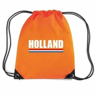 Oranje gymtas met rijgkoord holland supporter