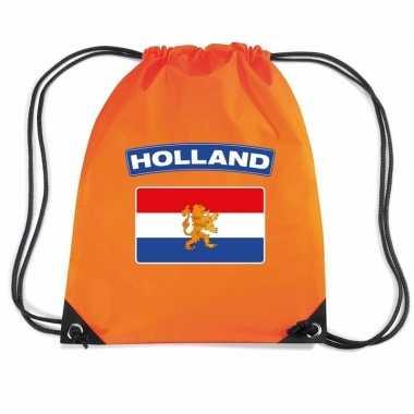 Oranje gymtas met rijgkoord holland vlag
