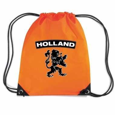 Oranje gymtas met rijgkoord holland zwarte leeuw