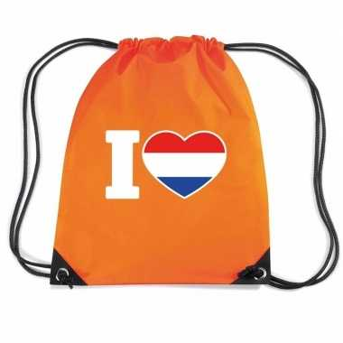 Oranje gymtas met rijgkoord i love holland