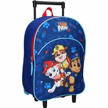 Paw patrol blauwe trolley/reiskoffer gymtas voor kinderen
