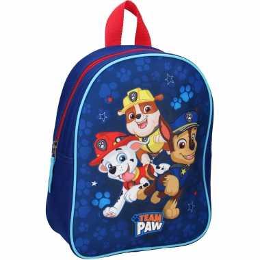 Paw patrol pups team paw school gymtas/rugzak voor peuters/kleuters/kinderen