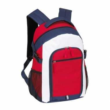 Rugzak/gymtas rood/wit/blauw 44 cm
