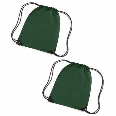 Set van 10x stuks donkergroene sportdag gymtasjes/zwembad tasjes 45 x 34 cm