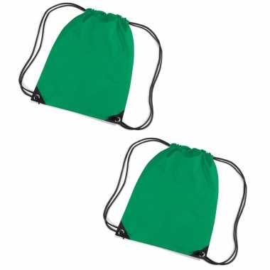 Set van 10x stuks grasgroene sportdag gymtasjes/zwembad tasjes 45 x 34 cm