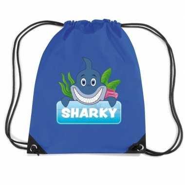 Sharky de haai gymtas / gymtas blauw voor kinderen