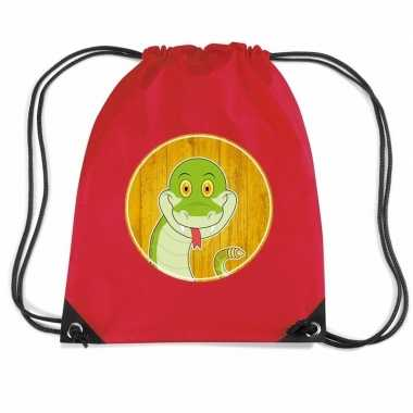 Slangen gymtas / gymtas rood voor kinderen