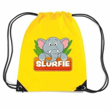 Slurfie de olifant gymtas / gymtas geel voor kinderen