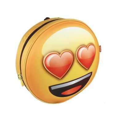 Smiley hartjesogen gymtas geel voor volwassenen
