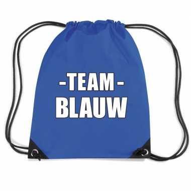 Team blauw gymtas voor bedrijfsuitje