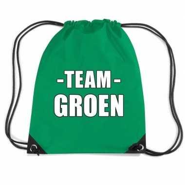 Team groen gymtas voor bedrijfsuitje