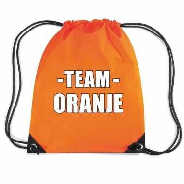 Team oranje gymtas voor bedrijfsuitje
