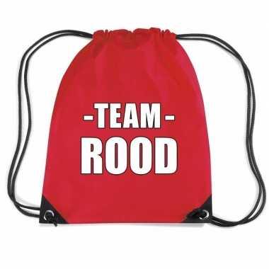 Team rood gymtas voor bedrijfsuitje