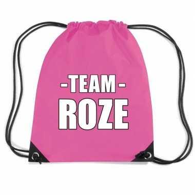 Team roze gymtas voor bedrijfsuitje fuchsia