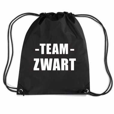 Team zwart gymtas voor bedrijfsuitje