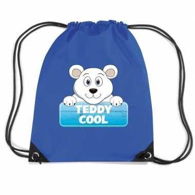 Teddy cool de ijsbeer gymtas / gymtas blauw voor kinderen