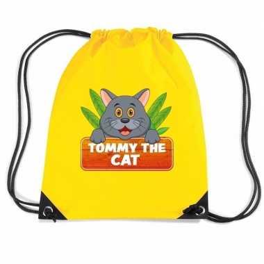 Tommy the cat katten gymtas / gymtas geel voor kinderen