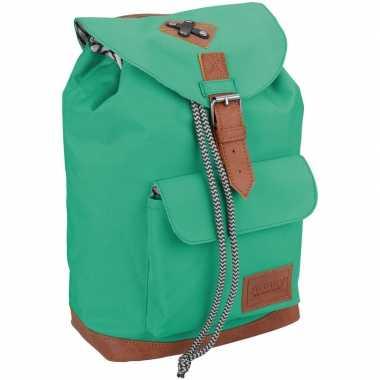 Vintage rugzak/gymtas mint groen 29 cm voor kinderen