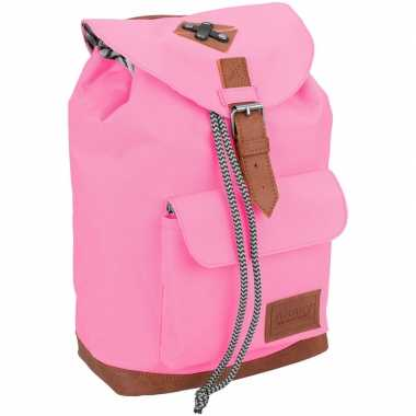 Vintage rugzak/gymtas roze 29 cm voor kinderen