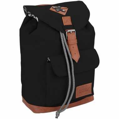 Vintage rugzak/gymtas zwart 29 cm voor kinderen