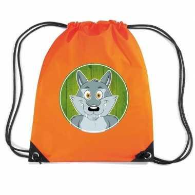 Wolven gymtas / gymtas oranje voor kinderen