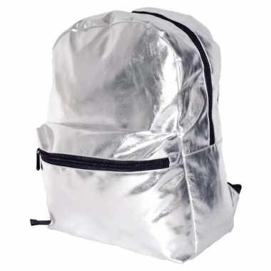 Zilveren rugzak/gymtas 43 cm voor meisjes