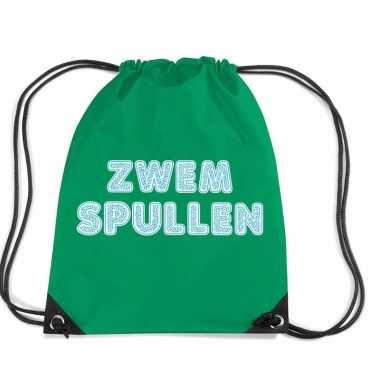 Zwemtas / gymtas van nylon met rijgkoord groen