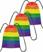 3x gymtasje gymtas rijgkoord regenboog rainbow pride vlag voor volwassenen en kids