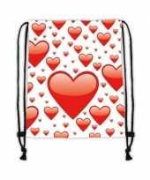 Gymtas wit met rode hartjes