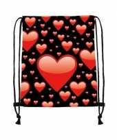 Gymtas zwart met rode hartjes