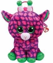 Knuffel kinder rugzakje gymtas ty beanie giraffe gilbert paarse 15 x 24 cm voor jongens meisjes kinderen