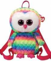 Knuffel kinder rugzakje gymtas ty beanie uil owen gekleurd 15 x 24 cm voor jongens meisjes kinderen