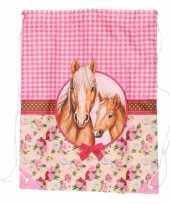 Paarden artikelen roze gymtas type 1